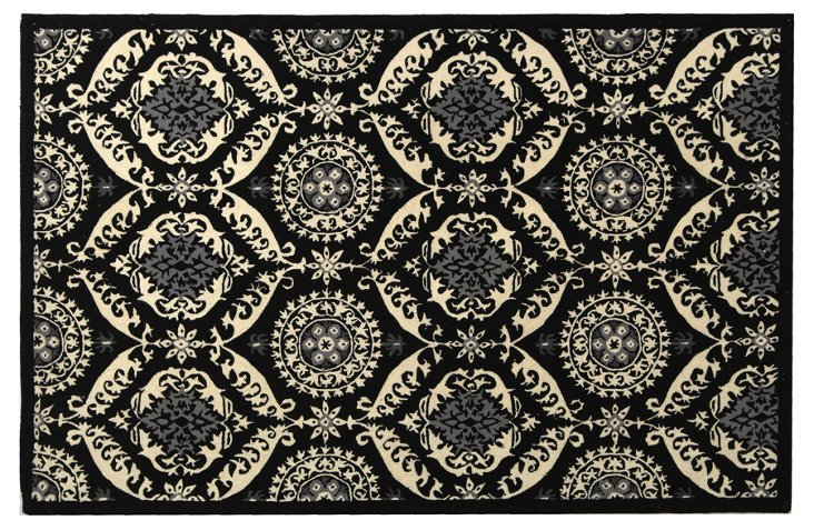 Watts Rug, Black/Ivory