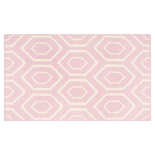 Ampara Dhurrie, Pink/Ivory
