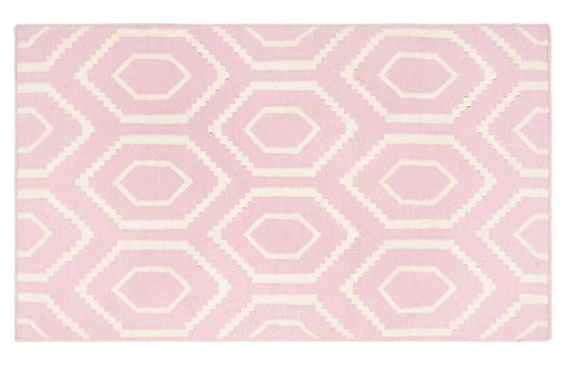 Ampara Dhurrie, Pink/Ivory