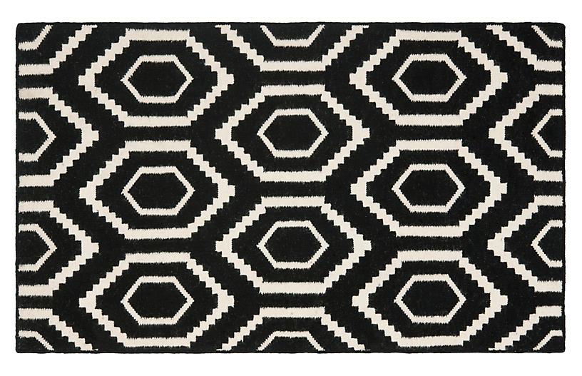 Ampara Dhurrie, Black/Ivory