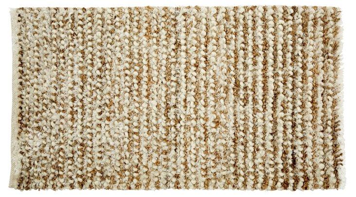 Soutine Shag Hemp-Blend Rug, White/Beige