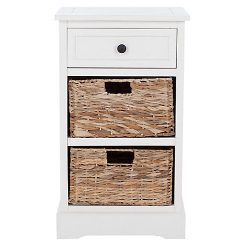 Kendall Storage Side Table, White