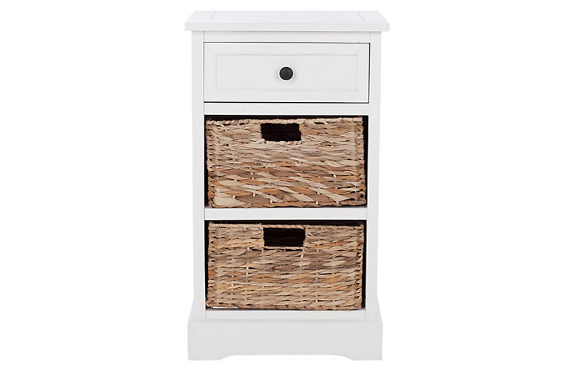 Kendall Storage Side Table, Cream
