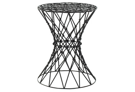 Wallace Woven Accent Table, Black