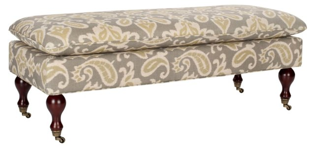 Nikolette Pillow-Top Bench, Gray/Sage