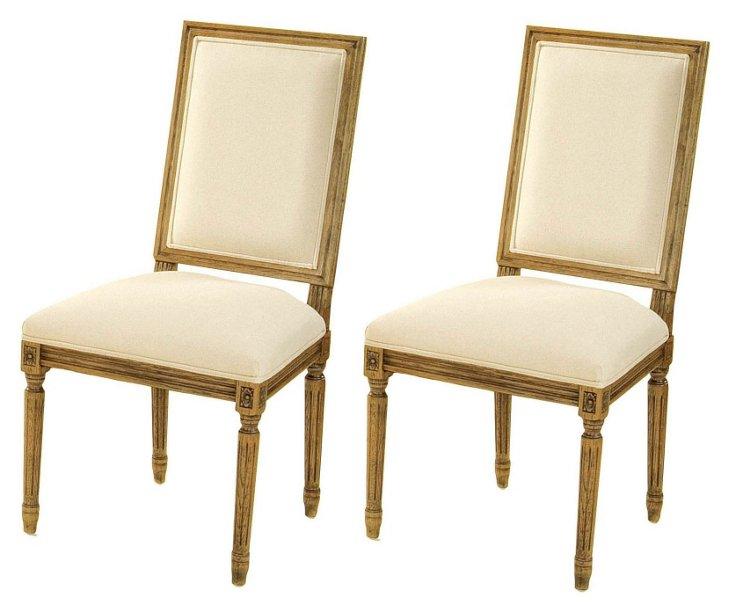 Cream Elliot Side Chairs, Pair