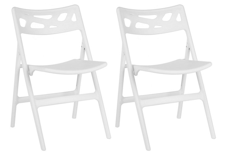 White Tabitha Folding Chairs, Set of 4