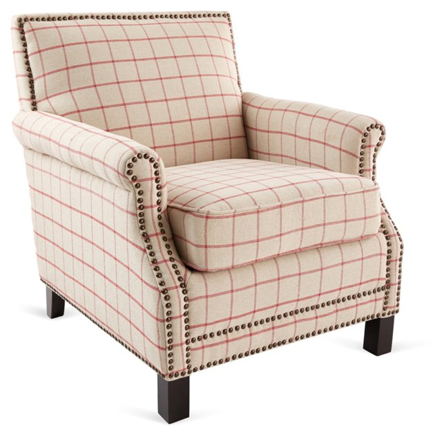 Taylor Club Chair, Beige/Red