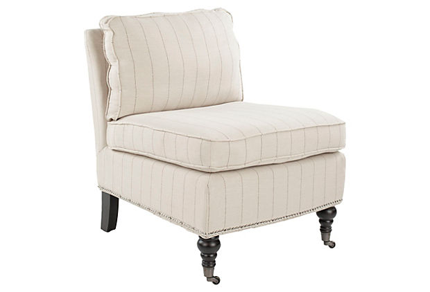 Ethan Armless Club Chair, Striped Cream
