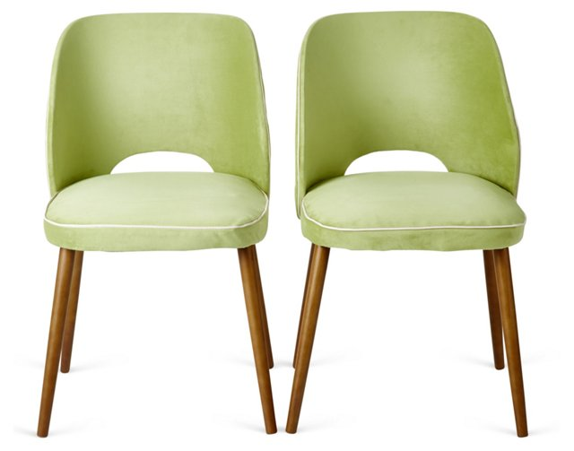 Lime Otis Dining Chairs, Pair
