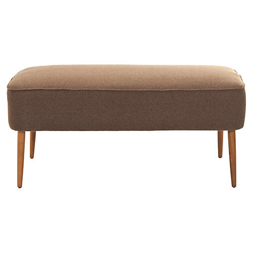 "Emily 40"" Retro Bench, Cocoa Wool"