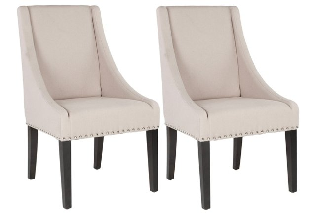 Beige Hunter Side Chairs, Pair