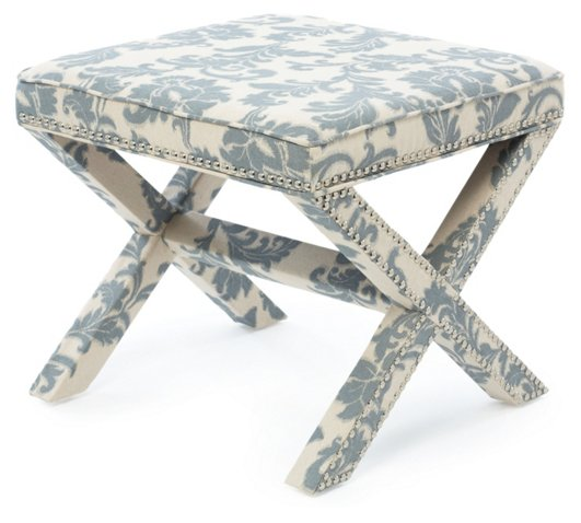 Chinoiserie themed x-bench ottoman