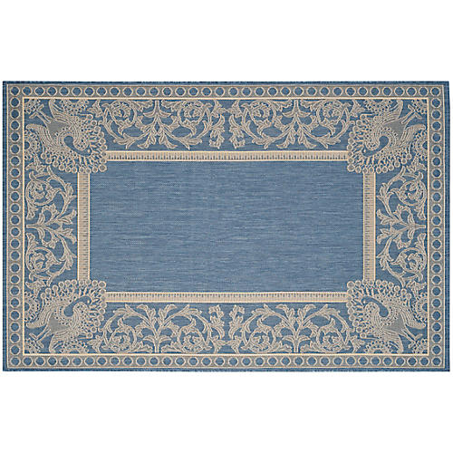 Bensonhurst Outdoor Rug, Blue/Natural