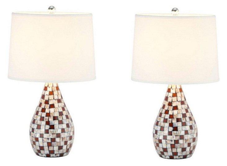 Jaden Table Lamp Set, Brown Mosaic