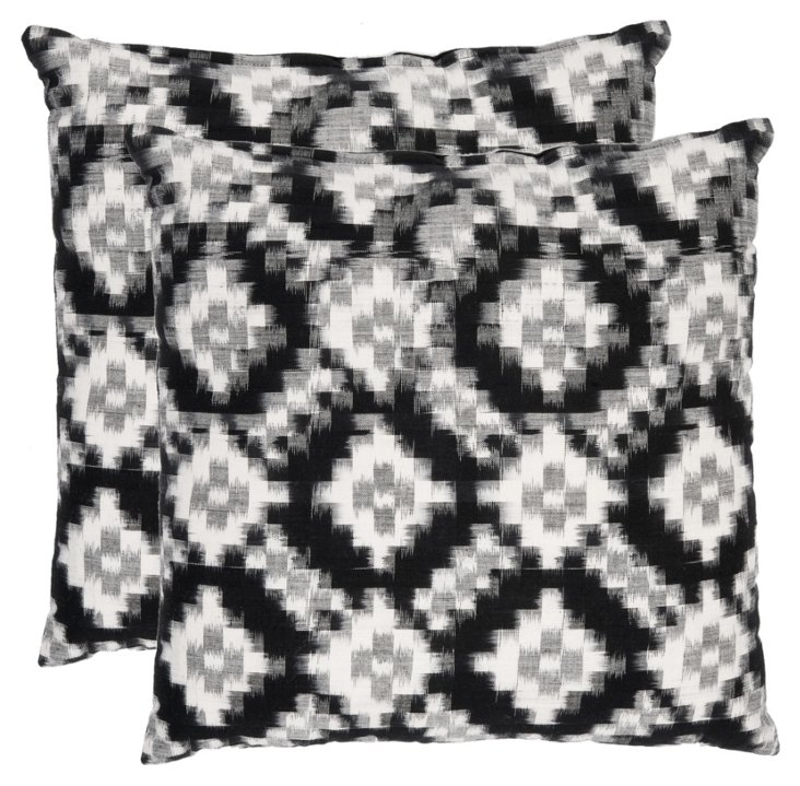 S/2 Butler Cotton Pillows, Black