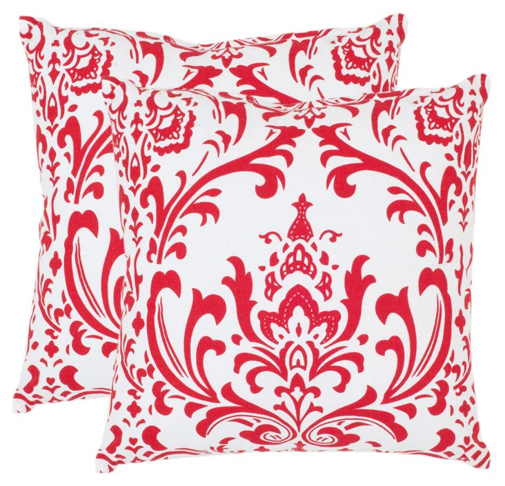 S/2 Waverly 22x22 Pillows, Red