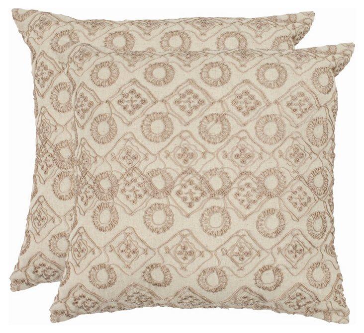 S/2 Hanna Pillows, Stone