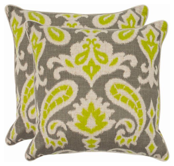 S/2 Martina 22x22 Pillows, Lime