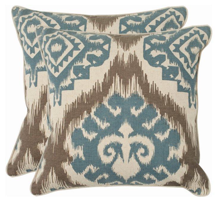 Set of 2 Tyra 22x22 Pillows, Powder Blue