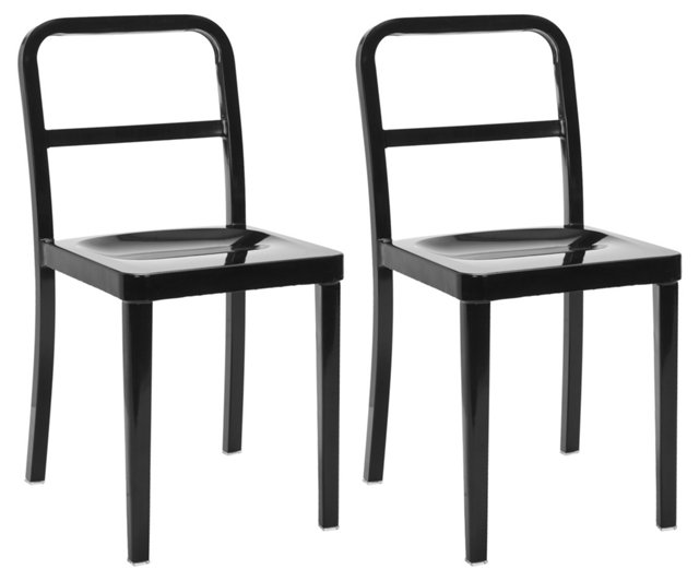 Black Evelyn Side Chairs, Pair