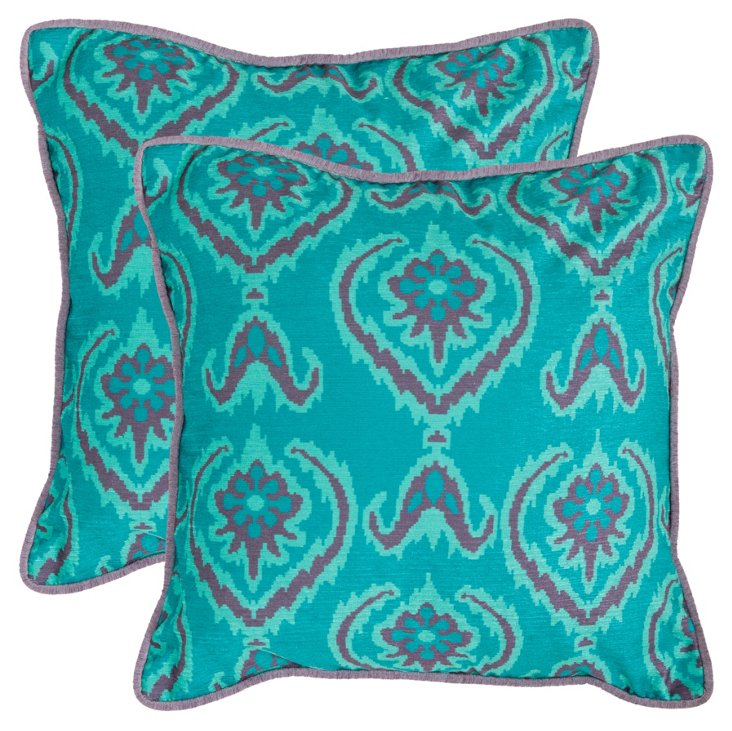 Set of 2 Alpine 20x20 Pillows, Aqua