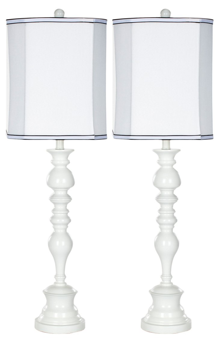 Cory Buffet Lamp Set, White
