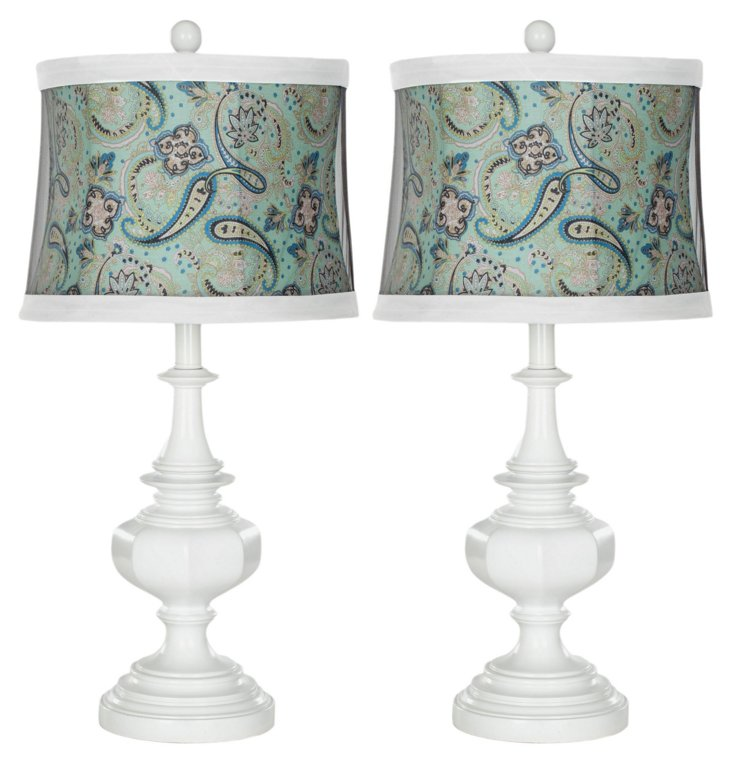 Brie Table Lamp Set, White