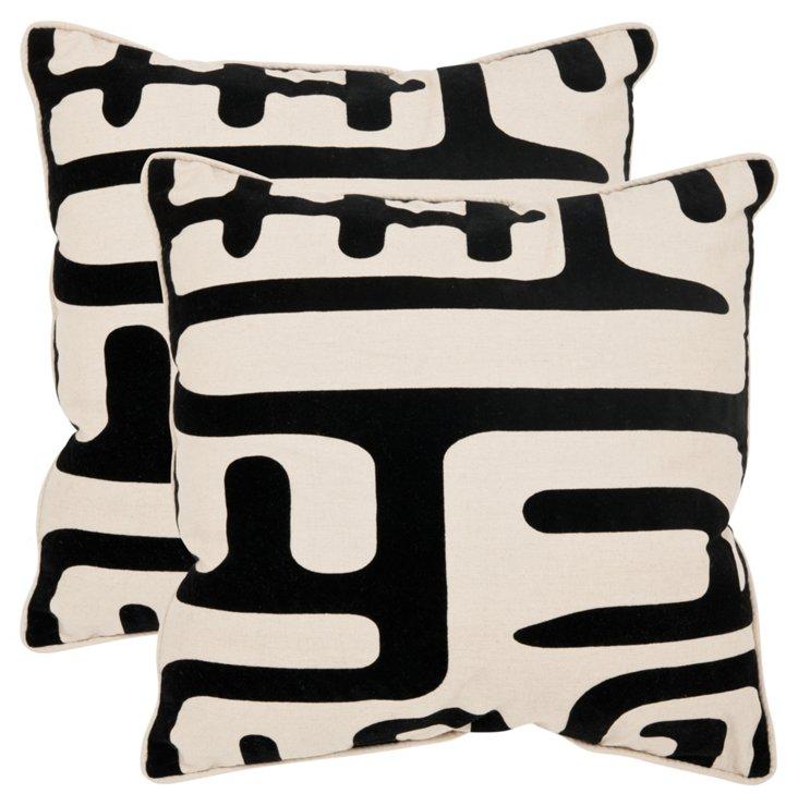 S/2 Maize Pillows, Black/White