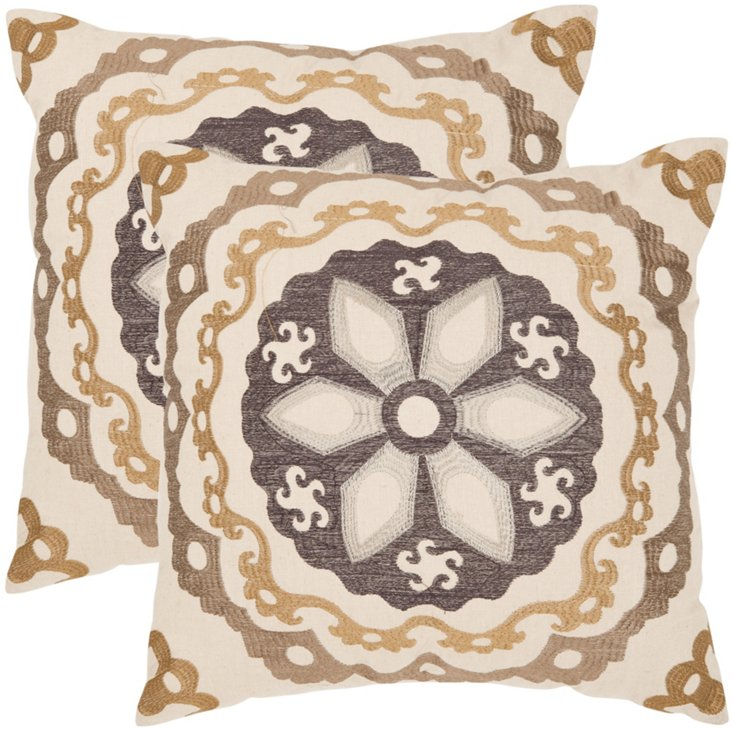 Set of 2 Thea Pillows, Taupe