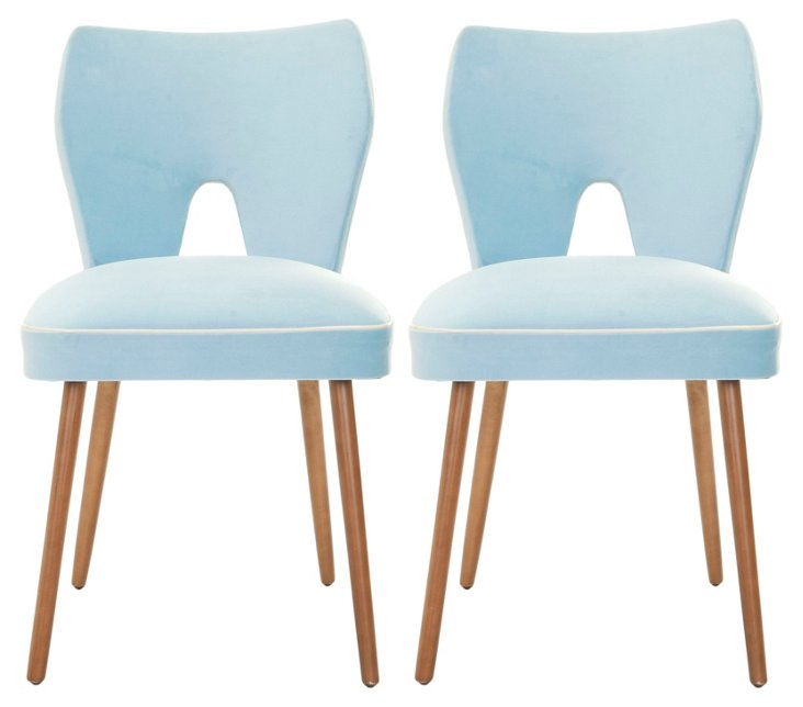Baby-Blue Julia Dining Chairs, Pair