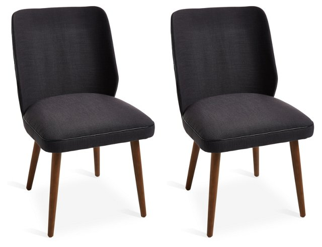 Charcoal Ethel Dining Chairs, Pair