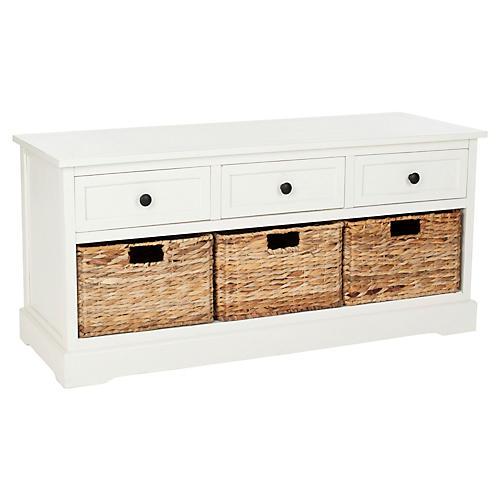 Eloise Storage Bench, White