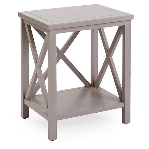 Beckett Cross-Back Side Table, Gray