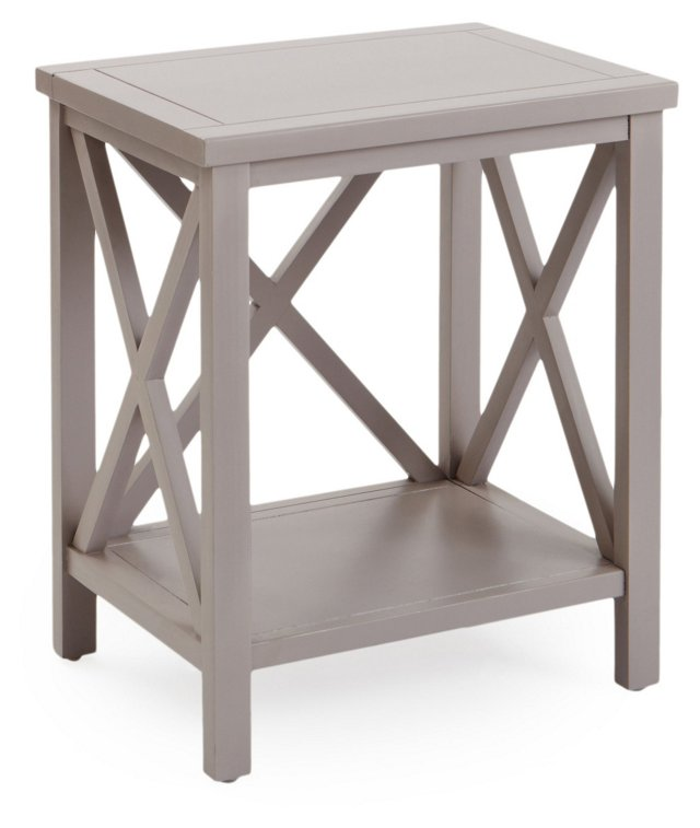 Lucas Cross-Back End Table, Taupe
