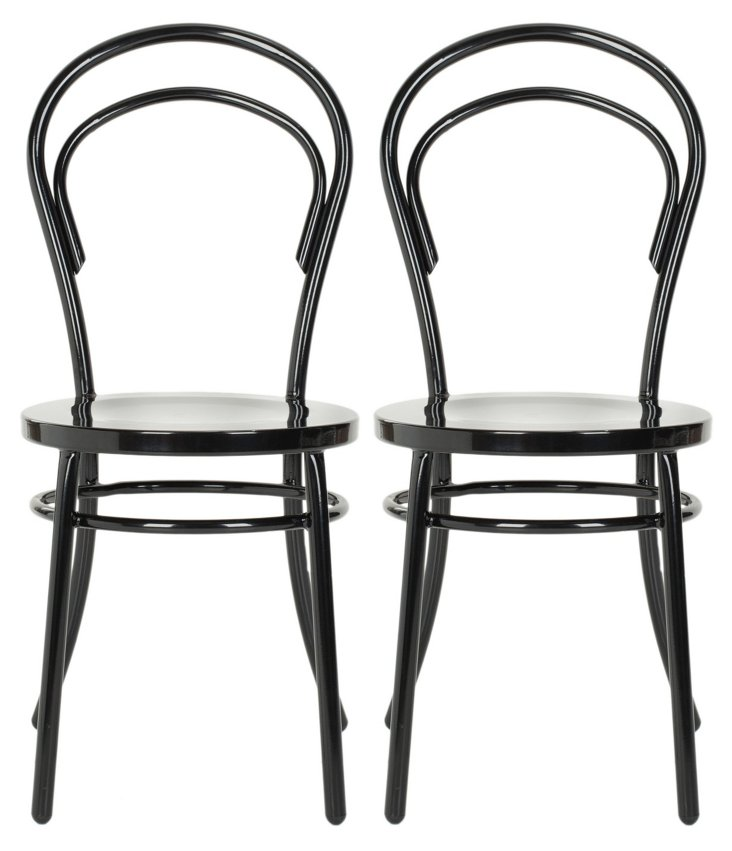 Black Florence Side Chairs, Pair