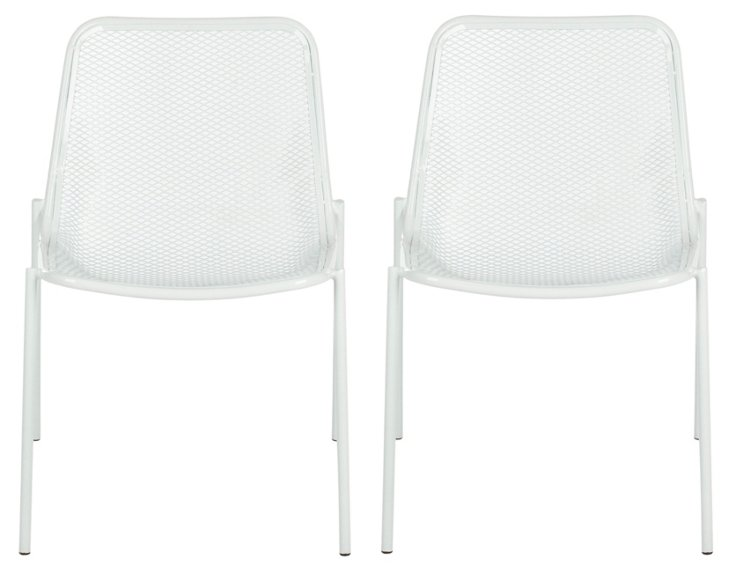 White Huntley Side Chairs, Set of 4