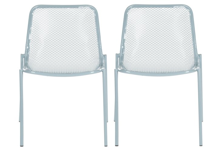 Blue Huntley Side Chairs, Set of 4