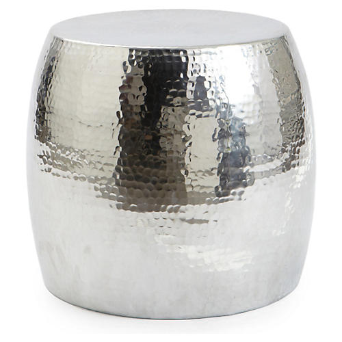 Dixon Hammered Stool, Silver