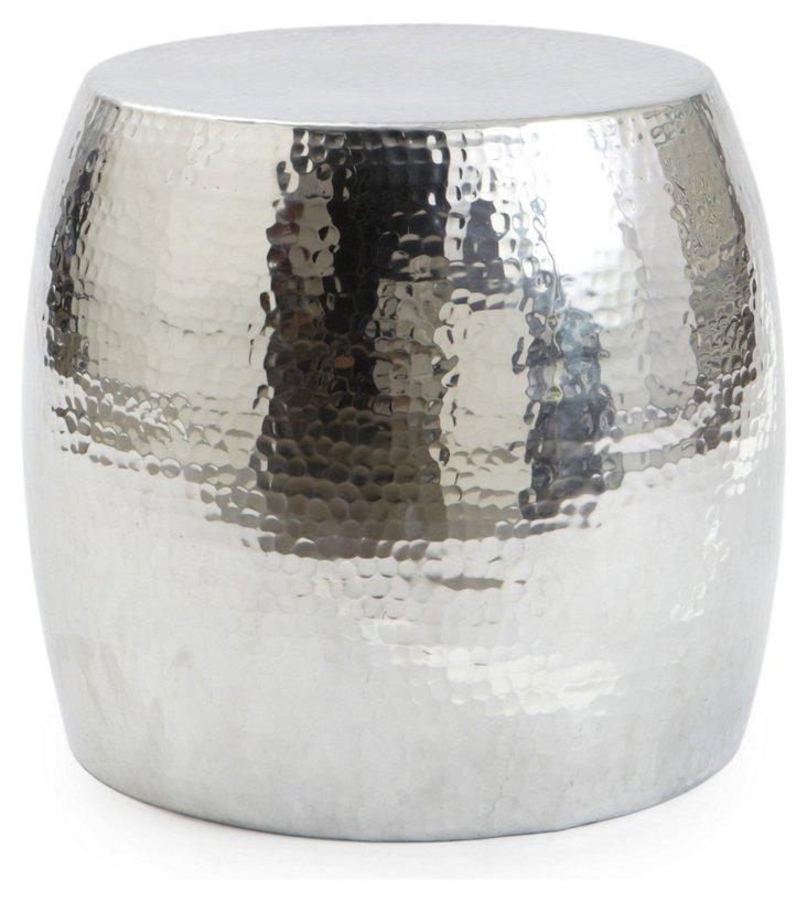 Dixon Hammered Garden Stool, Silver