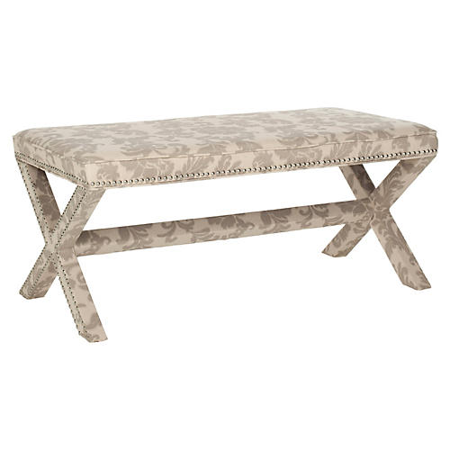 Emerson Bench, Cream/Light Gray
