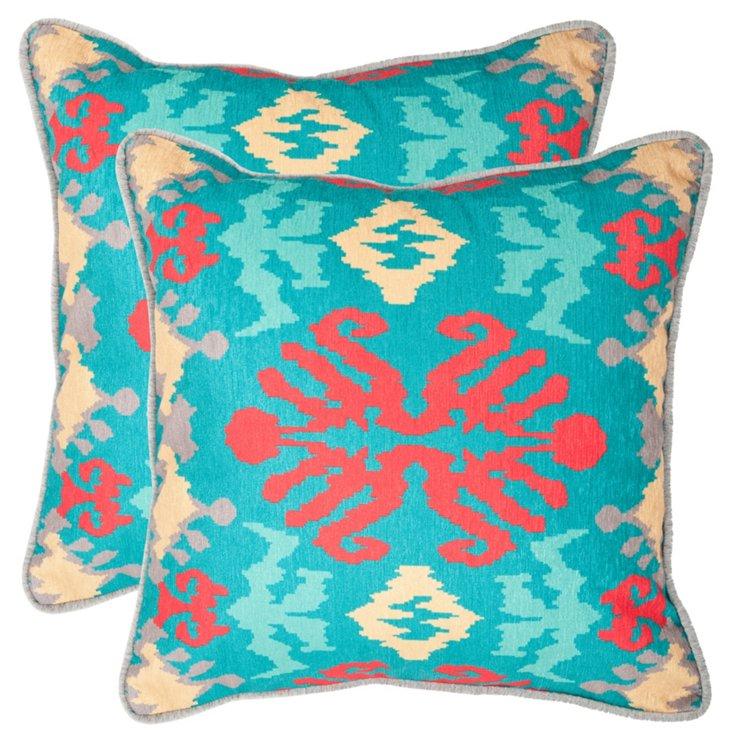 S/2 Ikat 18x18 Pillows, Aqua/Red