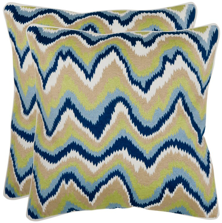 S/2 Bali 18x18 Cotton Pillows, Lime