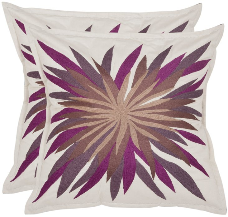 S/2 Autumn 18x18 Cotton Pillows, Purple