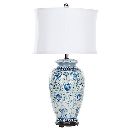 Hunt Decorative Table Lamp, Blue/Cream