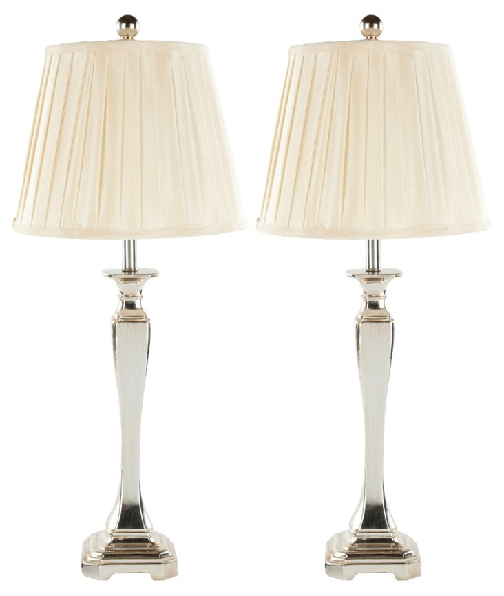 Laura Table Lamp Set, Cream