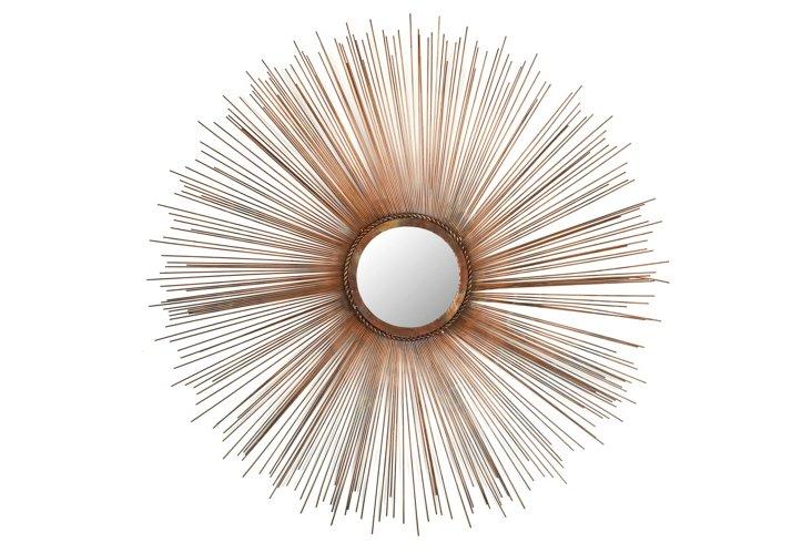 Amber Sunburst Wall Mirror, Copper