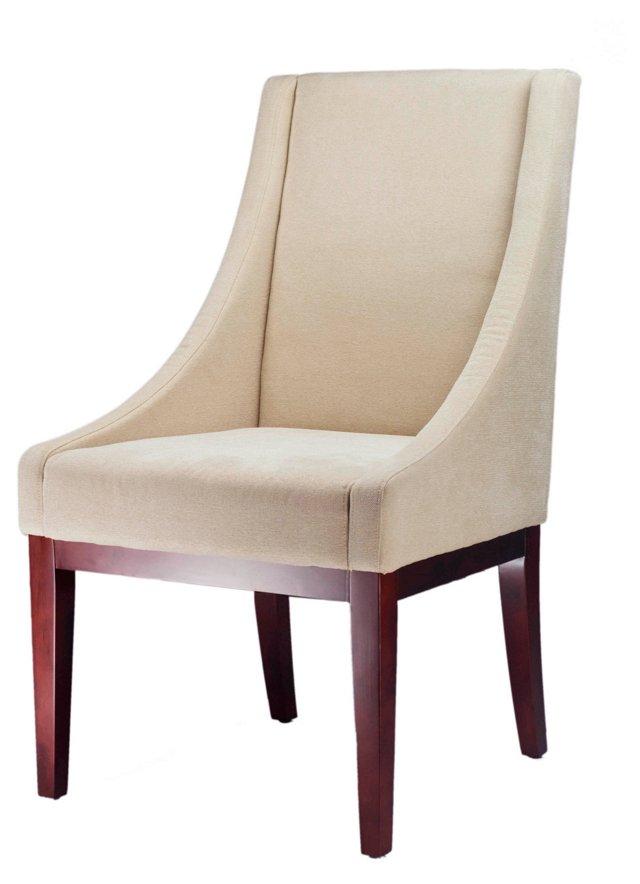 Blake Velvet Sloping Armchair, Cream