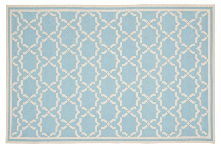 5'x8' Geneva Dhurrie, Light Blue/Ivory