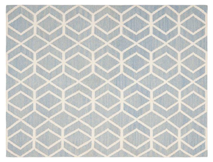 4'x6' Salisbury Dhurrie Rug, Blue/Ivory